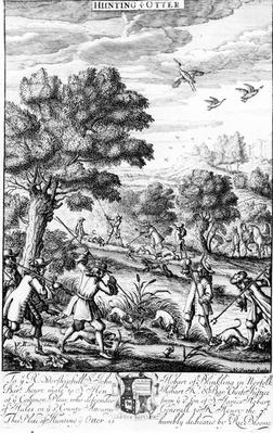 Hunting the Otter, from 'The Gentleman's Recreation' published by Richard Blome, 1686