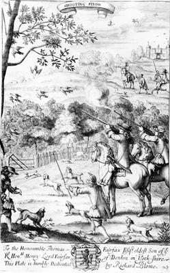 Shooting Flying, from 'The Gentleman's Recreation' published by Richard Blome, 1686