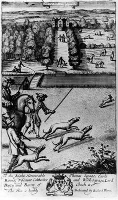 Coursing with Greyhounds, from 'The Gentleman's Recreation' published by Richard Blome, 1686