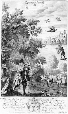 Pearching the Pheasant, from 'The Gentleman's Recreation' published by Richard Blome, 1686