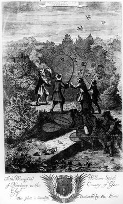 Taking birds with a net, from 'The Gentleman's Recreation' published by Richard Blome, 1686