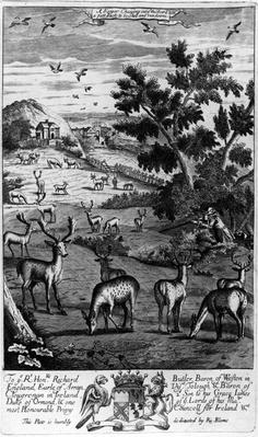 A keeper choosing out of the herd a fat buck to be shot and run down, from 'The Gentleman's Recreation' published by Richard Blome, 1686