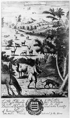 The Harbourer with the blood hound for harbouring the stagg, from 'The Gentleman's Recreation' published by Richard Blome, 1686