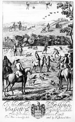 Partridge Hawking, from 'The Gentleman's Recreation' published by Richard Blome, 1686