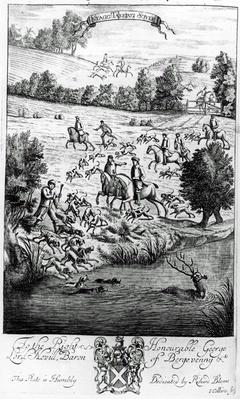 Stagg takeing soyle, from 'The Gentleman's Recreation' published by Richard Blome, 1686