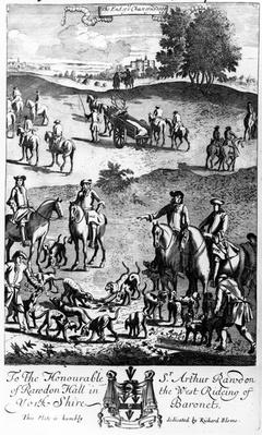 The end of the chase of the stagg, from 'The Gentleman's Recreation' published by Richard Blome, 1686