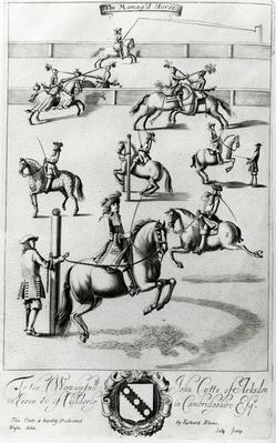 The Manag'd Horse, from 'The Gentleman's Recreation' published by Richard Blome, 1686