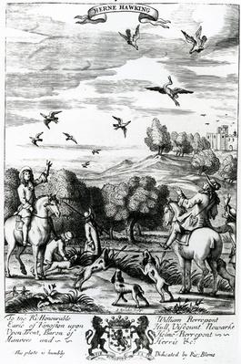 Herne hawking, from 'The Gentleman's Recreation' published by Richard Blome, 1686