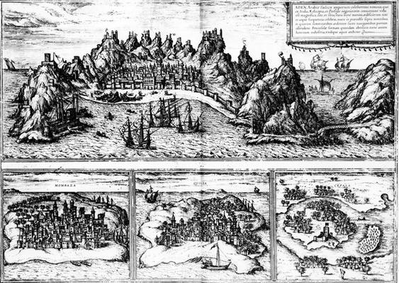 Views of Aden, Mombaza, Quiloa and Cefala, from Georg Braun's 'Civitates orbis terrarum', published in 1572