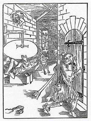 Of tale berers, fals reporters, and prometers of stryfes, illustration from Alexander Barclay's English translation of 'The Ship of Fools', from an edition published in 1874