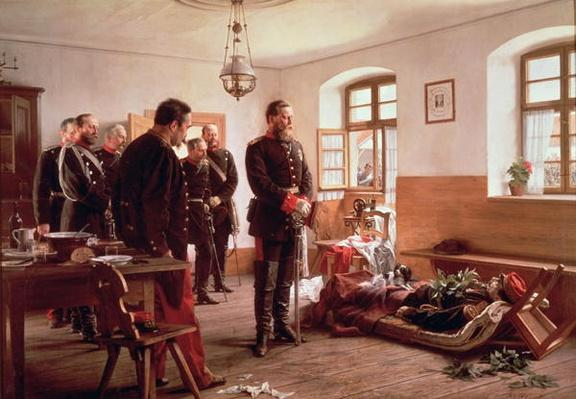 Crown Prince Frederick by the corpse of General Douay at the Battle of Wissembourg, 1870