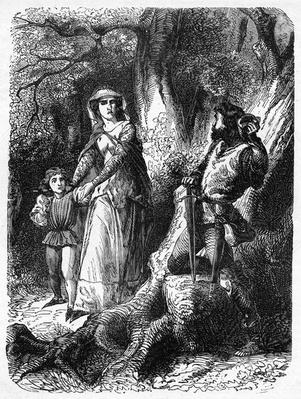 Queen Margaret and the Robber of Hexham, illustration from 'John Cassell's Illustrated History of England' published 1858