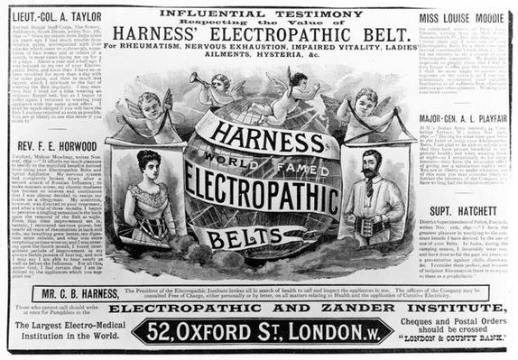 Advertisement for 'Harness world famed Electropathic Belts', c.1890