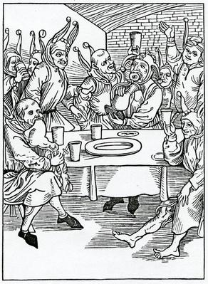 Of glotons and dronkardes, illustration from Alexander Barclay's English translation of 'The Ship of Fools', from an edition published in 1874