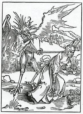 Of hym that fyndeth ought of another mannys it nat restorynge to the owner, illustration from Alexander Barclay's English translation of 'The Ship of Fools', from an edition published in 1874