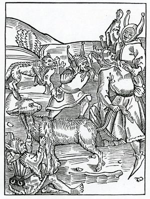 Of them that ar alway borowynge, illustration from Alexander Barclay's English translation of 'The Ship of Fools', from an edition published in 1874