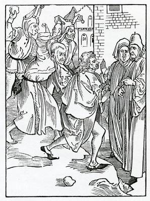 Of mockers, and scorners, and false accusers, illustration from Alexander Barclay's English translation of 'The Ship of Fools', from an edition published in 1874