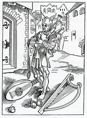 Of impacient folys that wyll nat abyde correccion, illustration from Alexander Barclay's English translation of 'The Ship of Fools', from an edition published in 1874