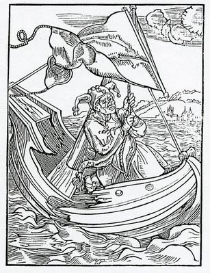 Of the despysynge of mysfortune, illustration from Alexander Barclay's English translation of 'The Ship of Fools', from an edition published in 1874
