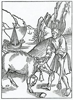 Of foles abhomynable in fowle wordes of rybawdry, illustration from Alexander Barclay's English translation of 'The Ship of Fools', from an edition published in 1874