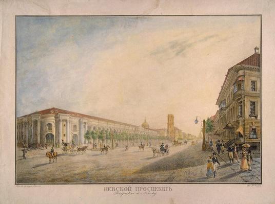 View of Nevsky Prospekt, near the Gostiny Dvor, St. Petersburg, 1823