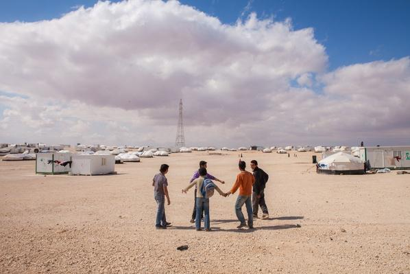 Syrian boys at Zaatari refugee camp in Jordan | Conflicts: Syria