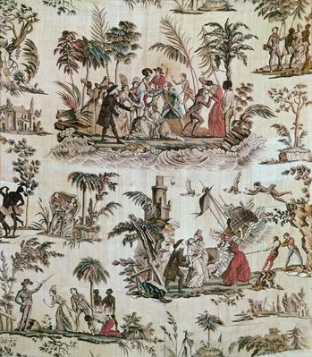 Illustrations of incidents from the novel 'Paul et Virginie', Toile de Nantes, c.1800