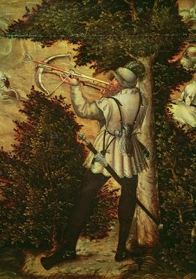 Crossbowman taking aim, detail of 'Hunt in Honour of Charles V near Hartenfels Castle, Torgau', 1544
