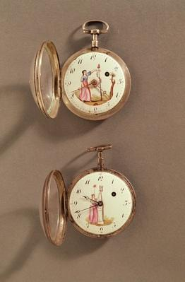 Two pocket watches with Revolutionary symbols