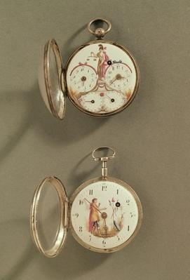 Two pocket watches decorated with Revolutionary symbols