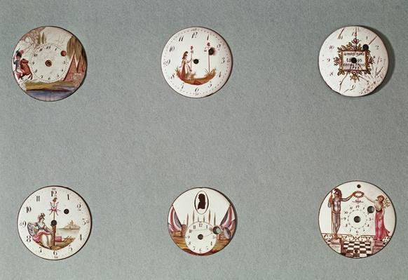 Six pocket watches decorated with Revolutionary symbols