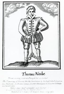 Thomas Nashe From a very scarce Pamphlet entitled 'The Trimming of Thomas Nashe Gentleman', published c.1819