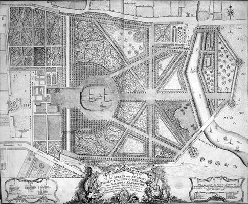 Plan of ye Royal Palace and Gardens of Kensington, 1736