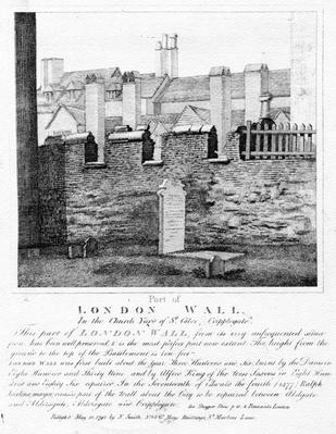 Part of London Wall, In the Church Yard of St. Giles, Cripplegate, published 1792