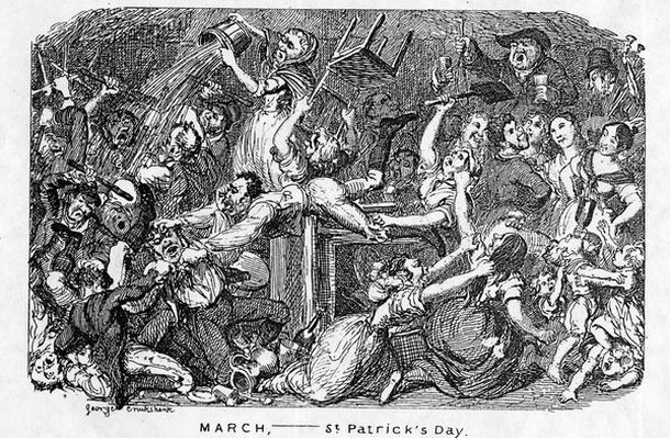 March, - St Patrick's Day, from 'The Comic Almanack', 1838