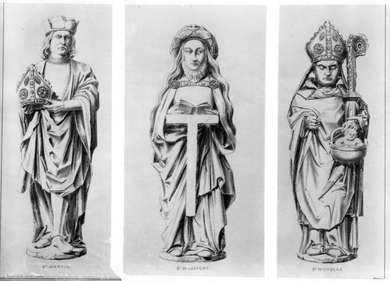 Drawings of Saints Martin, Wilgefort and Nicholas from their statues in Henry VII Chapel, Westminster Abbey,