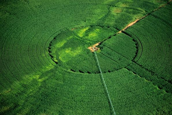 Circular irrigation of crop, summer, aerial view | Human Impact on the Physical Environment | Geography