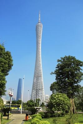 Canton Tower under the blue sky in Guangzhou | Monuments and Buildings