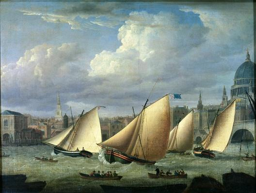 Yachts of the Cumberland Fleet starting at Blackfriars, London