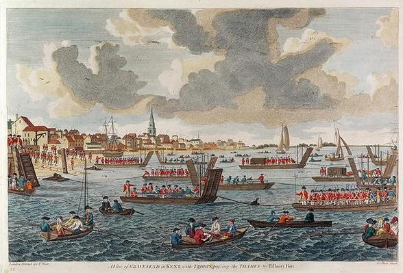 View of Gravesend with troops crossing the Thames to Tilbury Fort