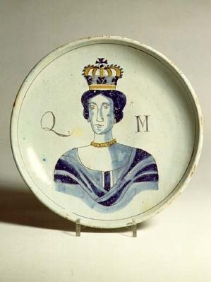 Lambeth Delftware portrait of Queen Mary