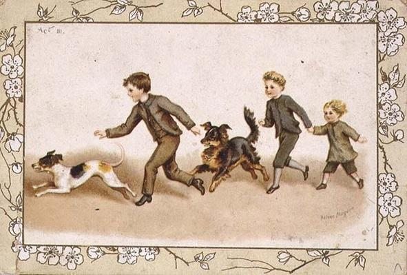 Greetings card depicting children playing with their dogs