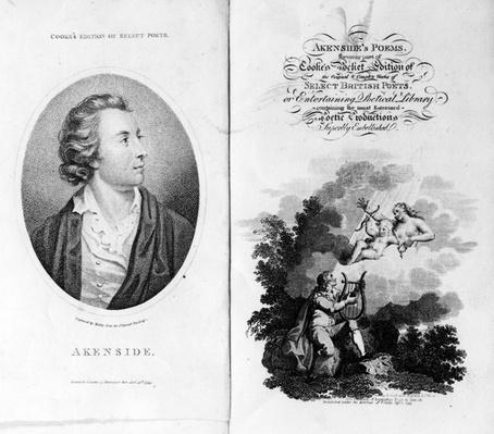 Frontispiece and Title Page for 'Akenside's Poems' from Cooke's Pocket Edition of Select British Poets, published 1799