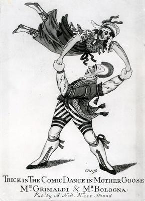 Trick in the Comic Dance in Mother Goose - Mr Grimaldi & Mr Bologna, print made by O'Keeffe, c.1805