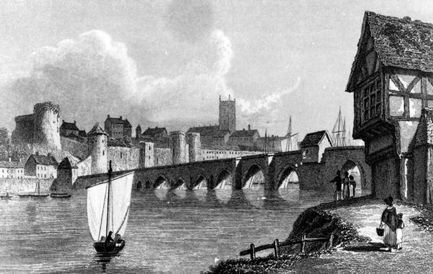 Castle and City of Limerick, engraved by E. Finden, 1829