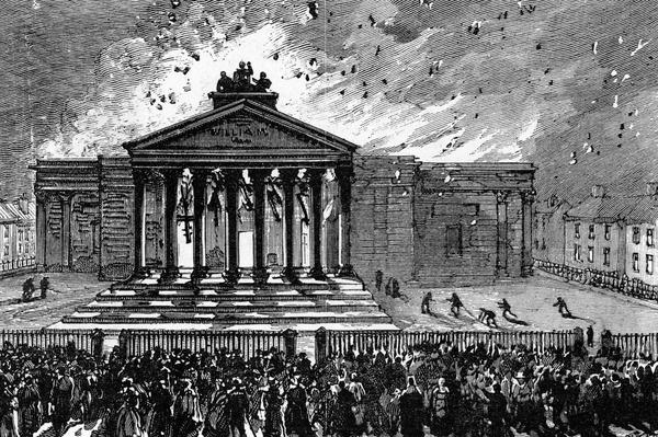 Burning of the Court-House at Cork, c.1891