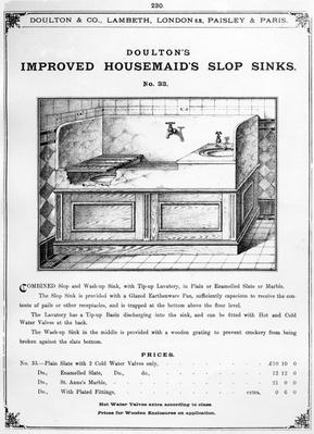 Advertisement for 'Doulton's Improved Housemaid's Slop Sinks', c.1880s