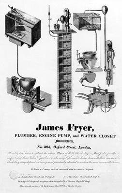 Advertisement for 'James Fryer, Plumber, Engine Pump and Water Closet Manufacturer',
