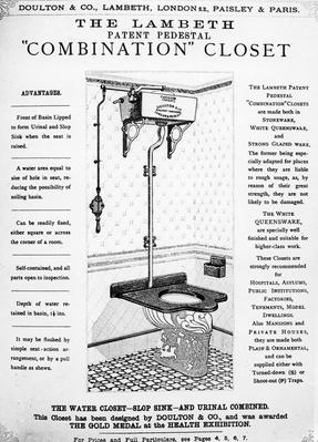 "Advertisement for 'The Lambeth Patent Pedestal ""Combination"" Closet', c.1890"