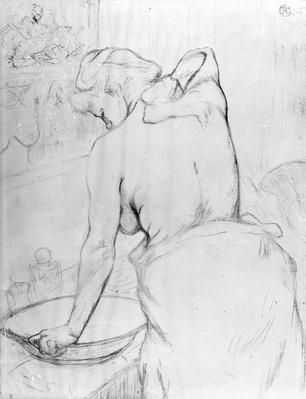 Woman washing herself at a basin, 1896